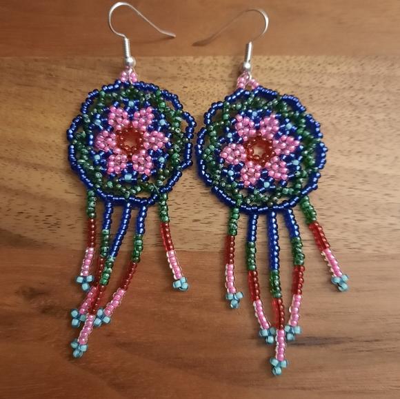Handmade miyuki beaded dangle earrings woman